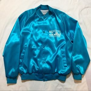 80s Riverside Resort Blue Vintage Bomber Jacket